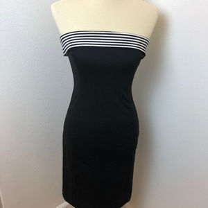 Zara Basic black dress with Blk/Wht band at top. M